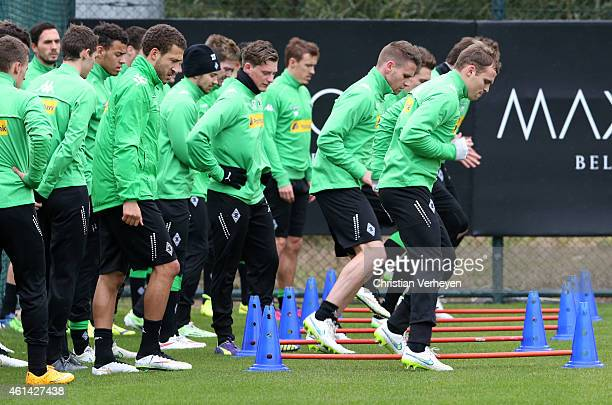 Team players of Borussia Moenchengladbach during a training session on day five of Borussia Moenchengladbach training camp on January 12 2015 in...