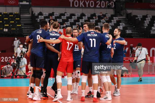 Team Poland celebrates after defeating Team Canada during the Men's Preliminary Round - Pool A volleyball on day nine of the Tokyo 2020 Olympic Games...