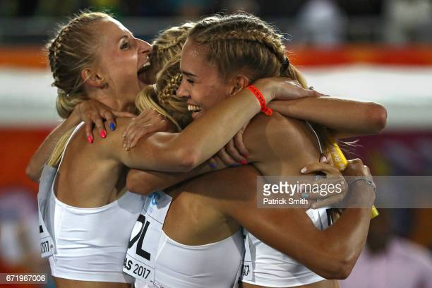 Team Poland celebrates after winning heat three of the women's 4x400 Metres Relay during the IAAF/BTC World Relays Bahamas 2017 at Thomas Robinson...