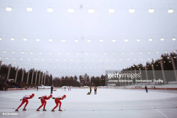 Team Poland compete in the ladies team pursuit during day three of the World Junior Speed Skating Championships at Oulunkyla Sports Park on February...