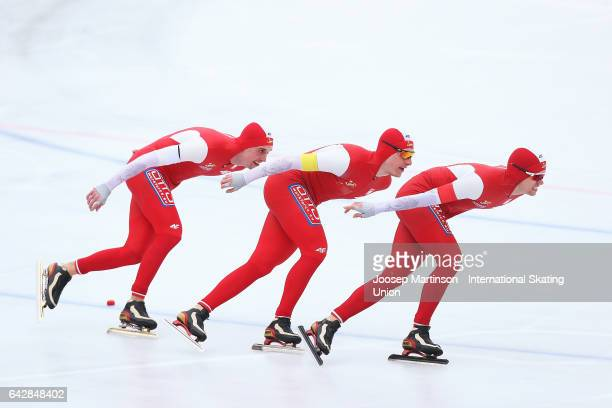 Team Poland compete in the men's team pursuit during day three of the World Junior Speed Skating Championships at Oulunkyla Sports Park on February...