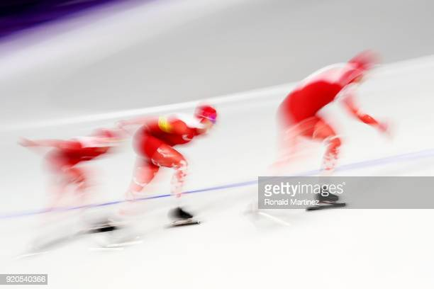 Team Poland competes during the Ladies' Team Pursuit Speed Skating Quarterfinals on day 10 of the PyeongChang 2018 Winter Olympic Games at Gangneung...