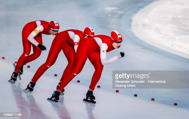 Team Poland competes in the Ladies Team Pursuit sprint race during the ISU Junior World Cup Speed Skating Final day 1 on February 9 2019 in Trento...