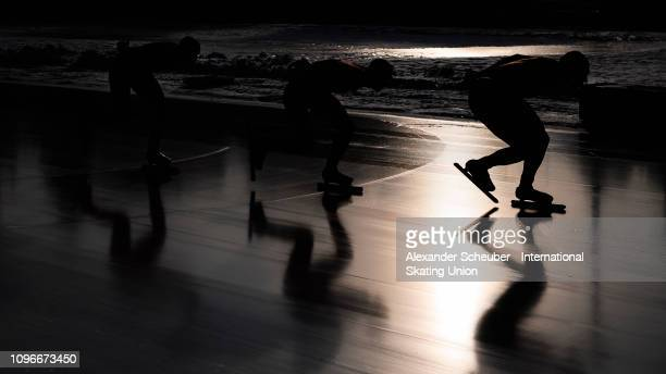 Team Poland competes in the Mens Team Pursuit sprint race during the ISU Junior World Cup Speed Skating Final day 1 on February 9 2019 in Trento Italy