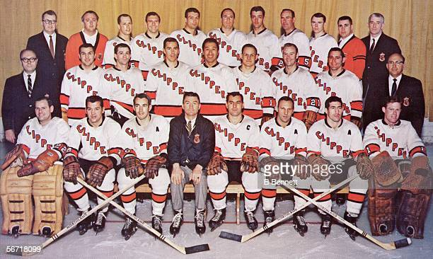 Team portrait of professional hockey team the Baltimore Clippers as they pose on the ice 1967 or 1968 Front row from left Gilles Boisvert Tom...