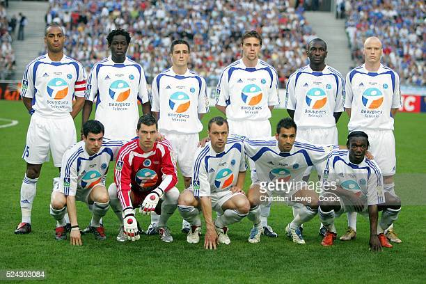 Team portrait of Racing Strasbourg before the match in which they beat Caen 21 to win the French League Cup on Saturday April 30 2005 at Stade de...