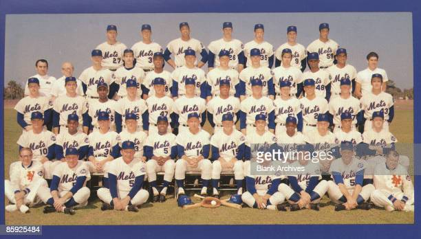Team portrait of the 1969 New York Mets baseball team 1969 The portrait from a fan giveaway postcard features from left front row Gus Mauch Joe...