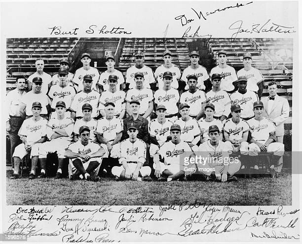 A team portrait of the Brooklyn Dodgers autographed by players including Jackie Robinson and Gil Hodges New York City 1950s