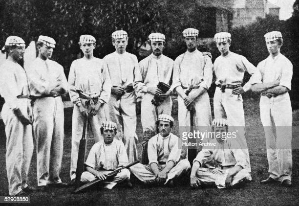 A team portrait of the Harrow school cricket team in 1865 Standing from left Hon Josceline G Amherst C L Arkwright John M Richardson Henry H...