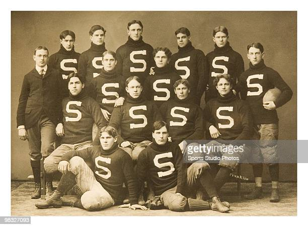 Team portrait of the Stanford University football team circa 1900