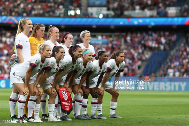 USA team pose for a group phot ahead of the 2019 FIFA Women's World Cup France Quarter Final match between France and USA at Parc des Princes on June...