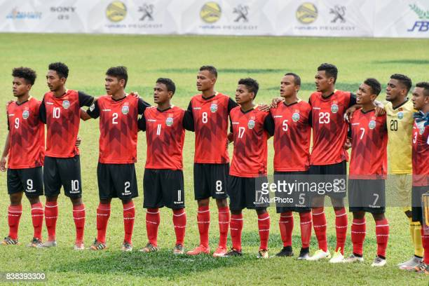LESTE team pose for a team photo prior to the Mens football PRELIMINARY MATCH between Philippines of the 29th Southeast Asian Games in Kuala Lumpur...