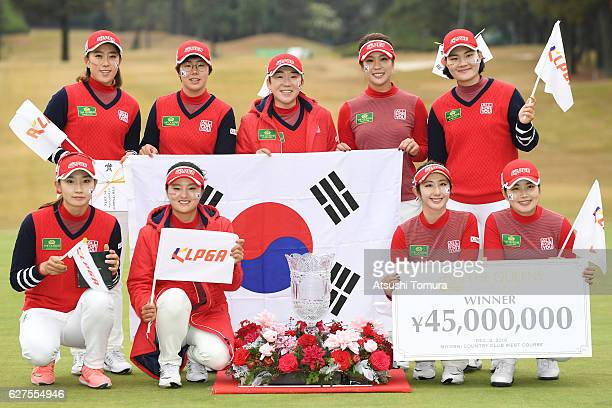 KLPGA team pose for photographers after winning the THE QUEENS Presented By KOWA at the Miyoshi Country Club West Course on December 4 2016 in...