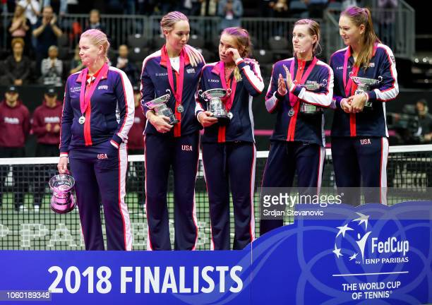 USA team pose with their trophy after the Fed Cup final match between Czech Republic and the United States at O2 Arena on November 11 2018 in Prague...