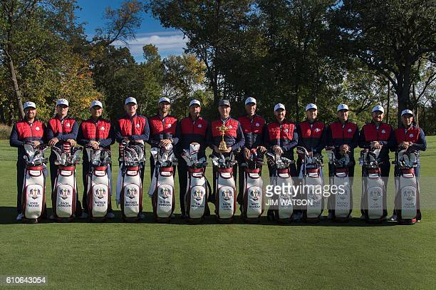 USA team poses for pictures at Hazeltine National Golf Course in Chaska Minnesota September 27 ahead of the 41st Ryder Cup Ryan Moore Zach Johnson...