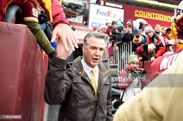 Team president Bruce Allen of the Washington Redskins walks on the field prior to the game against the New York Jets at FedExField on November 17...