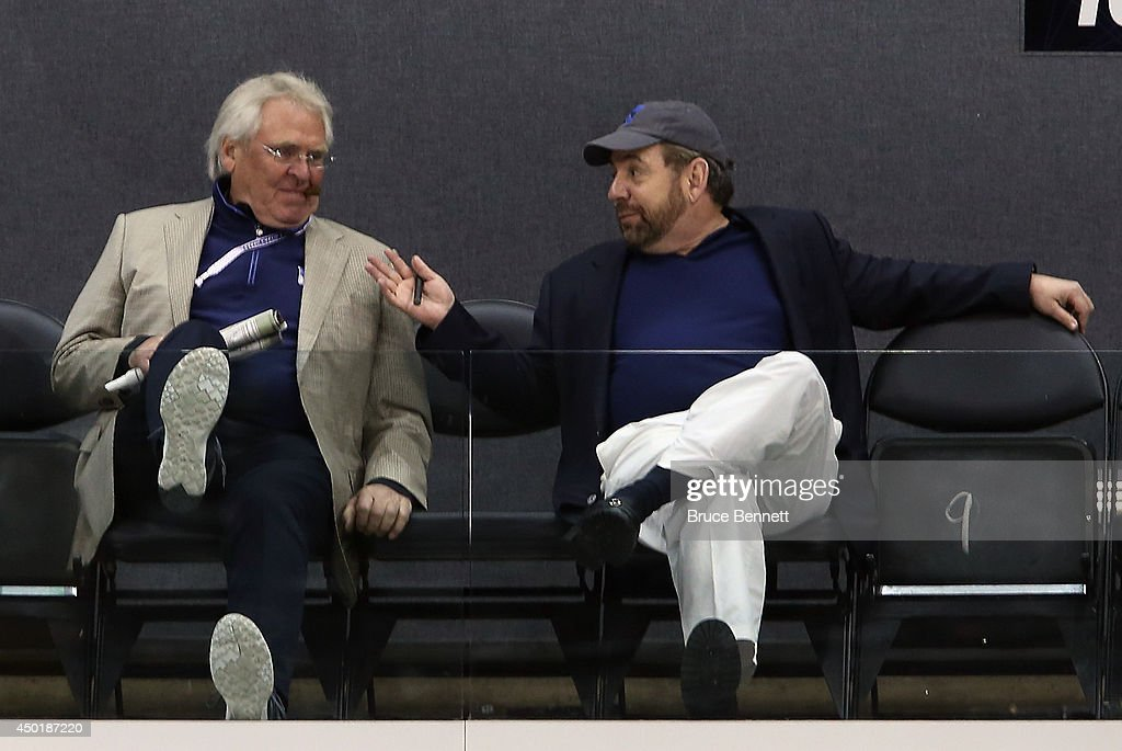 Team President Glen Sather and Exceutive Chairman James Dolan chat during the New York Rangers practice session on an off day during the 2014 NHL Stanley Cup playoffs at Staples Center on June 6, 2014 in Los Angeles, California.