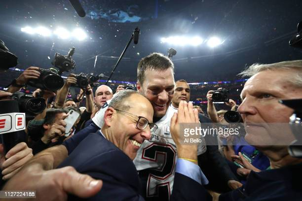 Team president Jonathan Kraft of New England Patriots and Tom Brady celebrate their teams 13-3 win over the Los Angeles Rams in Super Bowl LIII at...