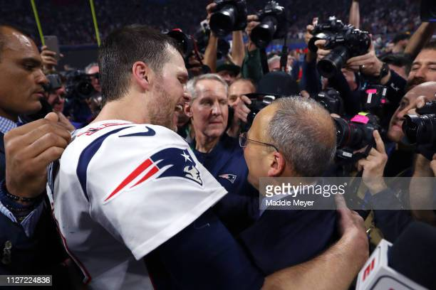 Team president Jonathan Kraft of New England Patriots and Tom Brady celebrate their teams 133 win over the Los Angeles Rams in Super Bowl LIII at...