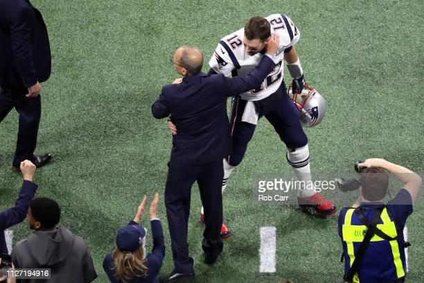 Team president Jonathan Kraft of New England Patriots greets Tom Brady prior to Super Bowl LIII against the Los Angeles Rams at MercedesBenz Stadium...