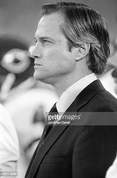 Team President Michael McCaskey of the Chicago Bears looks on during the game against the Detroit Lions at the Silverdome on December 22 1985 in...