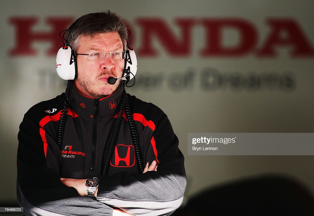 Team Principal of Honda Formula 1, Ross Brawn keeps an eye on the new Honda RA108 during Formula One Testing at the Circuit de Catalunya, on February 3, 2008 in Barcelona, Spain.
