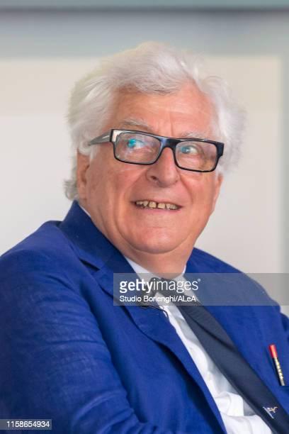 Team principal Patrizio Bertelli is interviewed during the Luna Rossa team presentation for the America's Cup 2021 on June 20, 2019 in Mondello,...