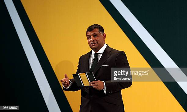Team Principal Tony Fernandes addresses the crowd at the during the Lotus F1 launch at The Royal Horticultural Halls on February 12 2010 in London...