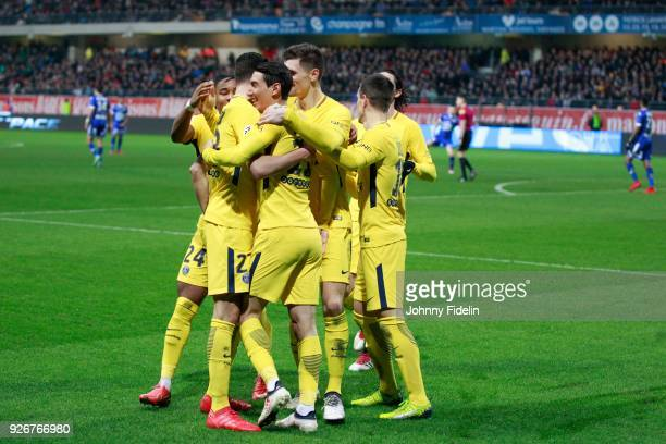 Team PSG celebrate his goal during the Ligue 1 match between Troyes AC and Paris Saint Germain at Stade de l'Aube on March 3 2018 in Troyes