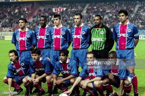 Team PSG line up during the SemiFinal UEFA Cup Winners Cup between Paris Saint Germain and Liverpool at Parc des Princes Paris France on 10th April...