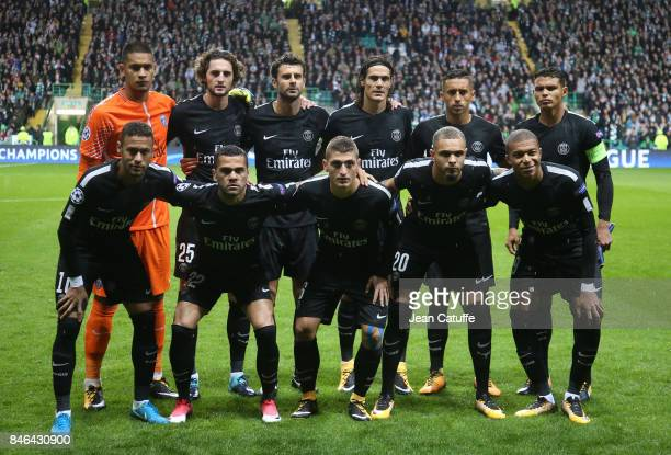 Team PSG poses before the UEFA Champions League match between Celtic Glasgow and Paris Saint Germain at Celtic Park on September 12 2017 in Glasgow...
