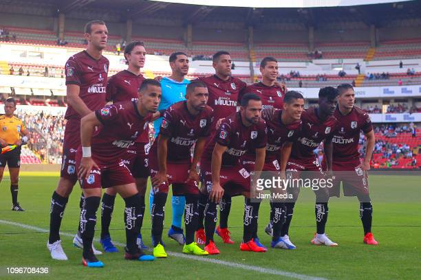 Team Queretaro poses prior the third round match between Queretaro and Monterrey as part of the Torneo Clausura 2019 Liga MX at La Corregidora...