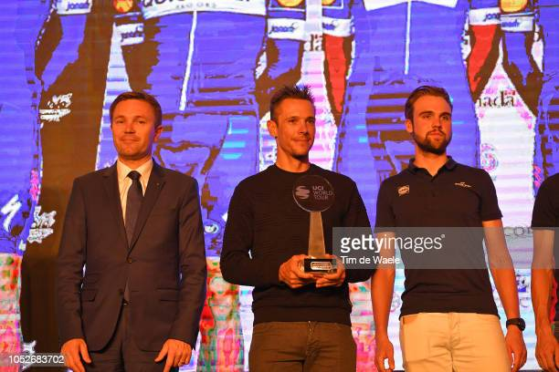 Team QuickStep Floors of Belgium UCI World Tour Team Classification / David Lappartient of France UCI President / Philippe Gilbert of Belgium and...