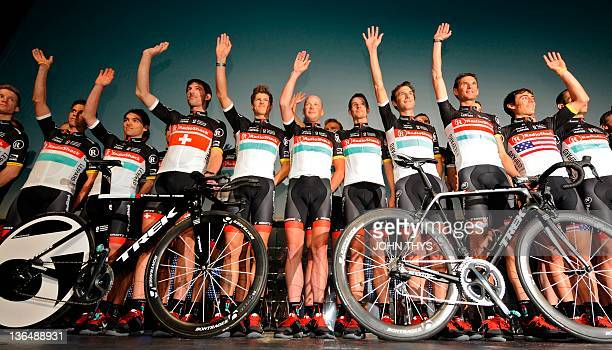 US team Radioshack cyclists Swiss' Fabien Cancellara Danish Jacob Fuglsang US Chris Hurner German's Andreas Horner Luxembourg's Andy Schleck...