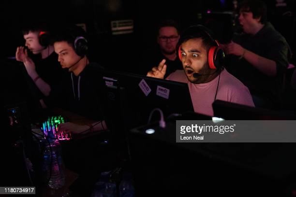 A team reacts after an unexpected loss during a match at the epicLAN esport tournament at the Kettering Conference Centre on October 12 2019 in...
