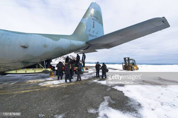 Team removing luggage from The Brazilian Hercules C130 at Chilean Base President Eduardo Frei Montalva on November 04 2019 in King George Island...