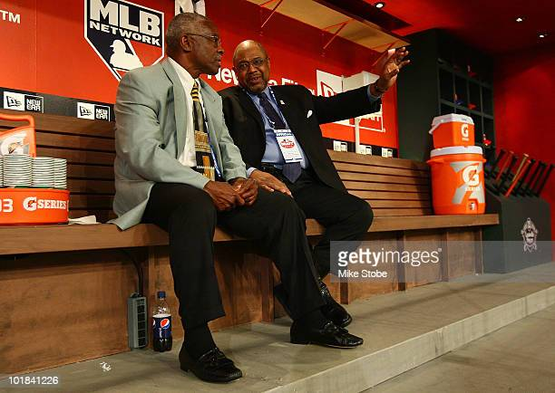 Team representative of the Baltimore Orioles Al Bumbry speaks with Hall of Famer Bob Watson during the MLB First Year Player Draft on June 7 2010...