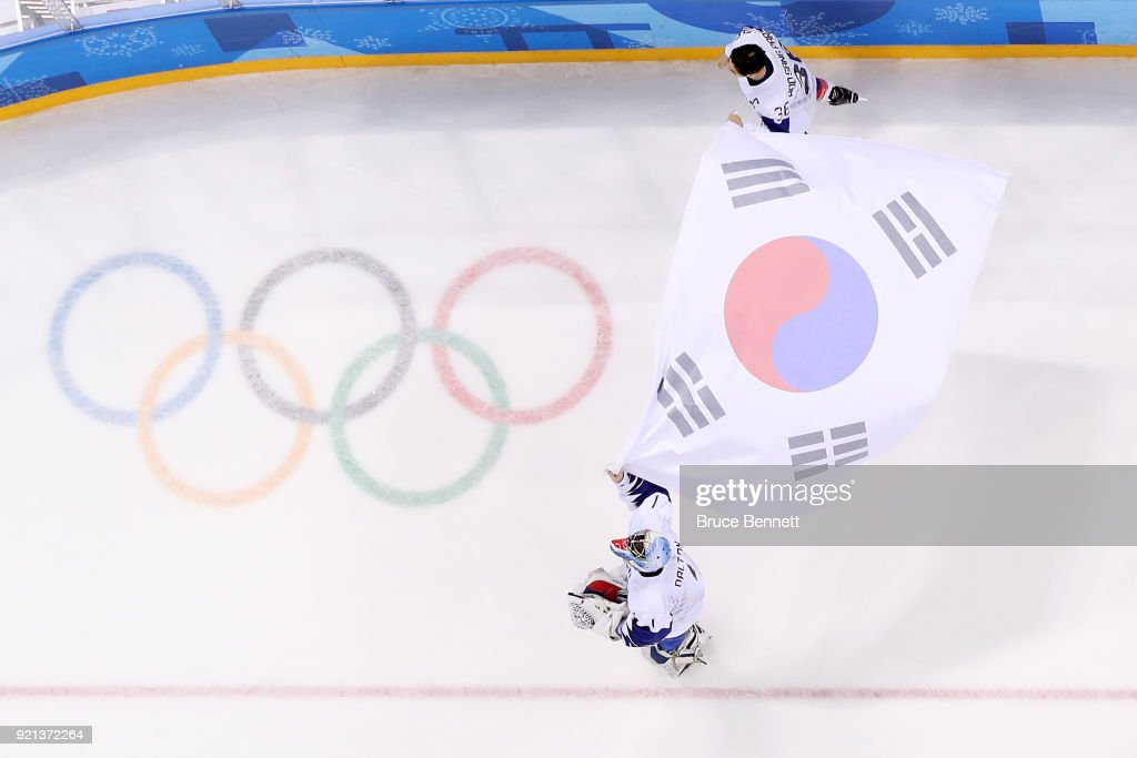 Team Republic of Korea reacts after losing 5-2 to Finland during the Men's Play-offs Qualifications game on day eleven of the PyeongChang 2018 Winter Olympic Games at Gangneung Hockey Centre on February 20, 2018 in Gangneung, South Korea.