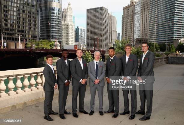 Team Rest of the World Diego SchwartzmanFrances TiafoeJack Sockteam captain John McEnroeNick KyrgiosKevin Anderson and John Isner pose for their...