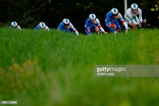 Team ride during the Team Time Trial on day two of the 97th Volta Catalunya 2017, a 41,3 km ride starting and finishing in Banyoles on March 21,...