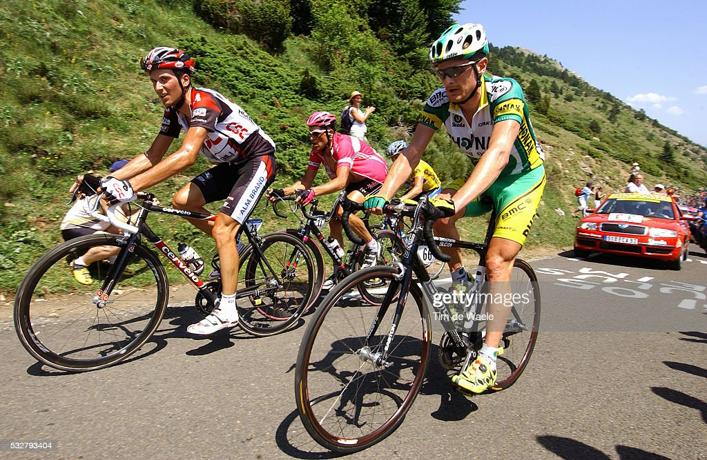 CSC team rider Ivan Basso, T-Mobile rider Jan Ullrich, and Phonak