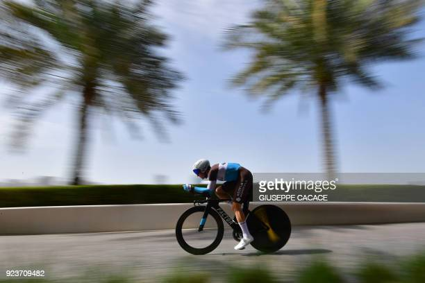 TOPSHOT AG2R team rider Mathias Frank competes during the fourth stage of the Abu Dhabi cycling tour in the Emirati capital on February 24 2018 / AFP...