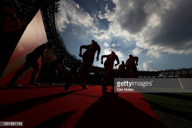 Team ROC and Team China take to the field in the Women's Placing 7-8 match between Team ROC and Team China during the Rugby Sevens on day eight of...