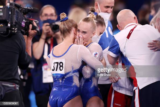 Team ROC celebrates after winning gold during the Women's Team Final on day four of the Tokyo 2020 Olympic Games at Ariake Gymnastics Centre on July...