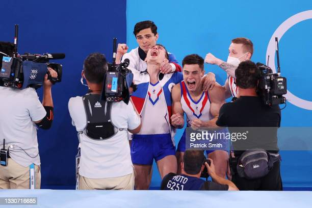 Team ROC celebrates after winning gold the Men's Team Final on day three of the Tokyo 2020 Olympic Games at Ariake Gymnastics Centre on July 26, 2021...