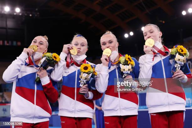 Team ROC celebrates after winning the gold medal during the Women's Team Final on day four of the Tokyo 2020 Olympic Games at Ariake Gymnastics...