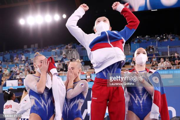 Team ROC reacts after during the Women's Team Final on day four of the Tokyo 2020 Olympic Games at Ariake Gymnastics Centre on July 27, 2021 in...
