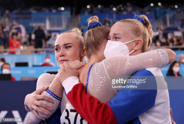 Team ROC reacts after winning the gold medal during the Women's Team Final on day four of the Tokyo 2020 Olympic Games at Ariake Gymnastics Centre on...