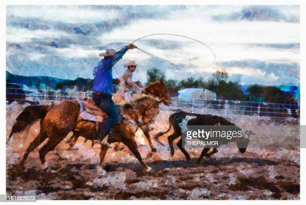 team roping rodeo action - digital photo manipulation - arte, cultura e espetáculo imagens e fotografias de stock