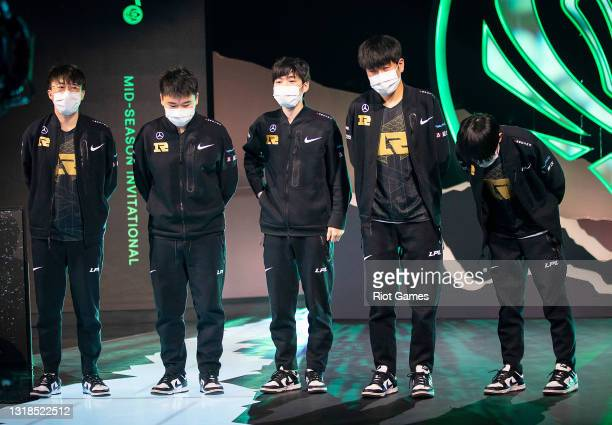 Team Royal Never Give Up appears on stage after a victory at the 2021 MSI annual League of Legends Rumble Stage: Day 4 on May 17, 2021 in Reykjavik,...